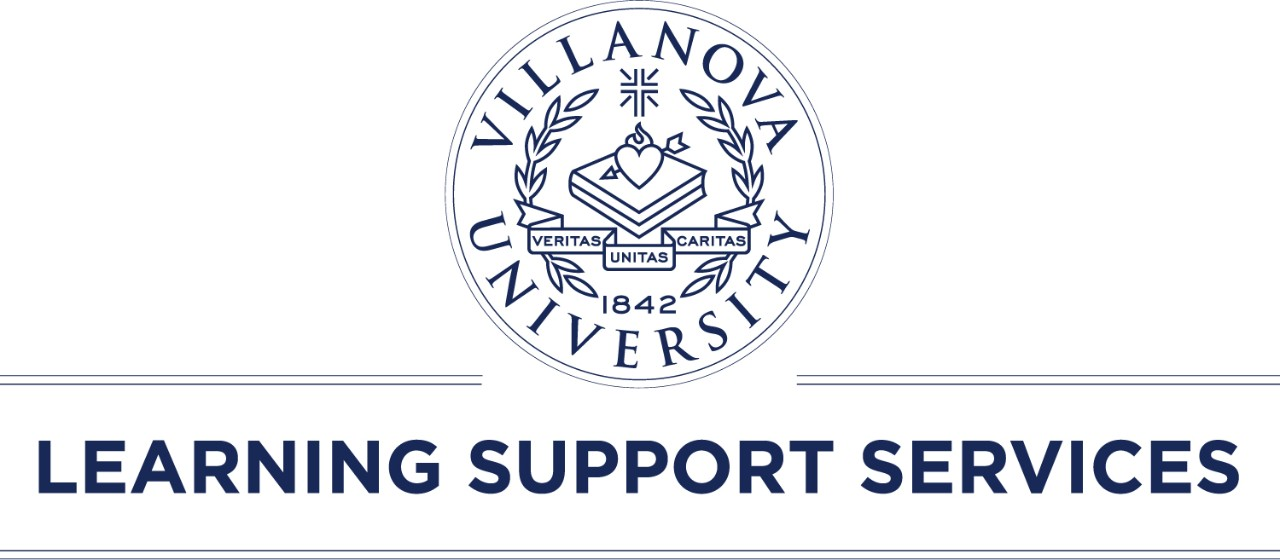 Image of LSS Logo, Villanova University Crest with Learning Support Services written underneath