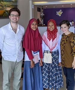 Sabrina Verleysen with three others in Indonesia