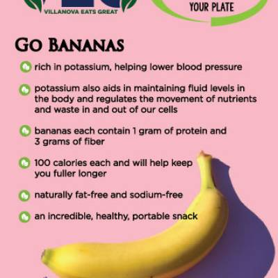 Go Bananas rich in potassium, helping lower blood pressure potassium also aids in maintaining fluid levels inthe body and regulates the movement of nutrientsand waste in and out of our cells bananas each contain 1 gram of protein and 3 grams of fiber 100 calories each and will help keep you fuller longer naturally fat-free and sodium-free an incredible, healthy, portable snack