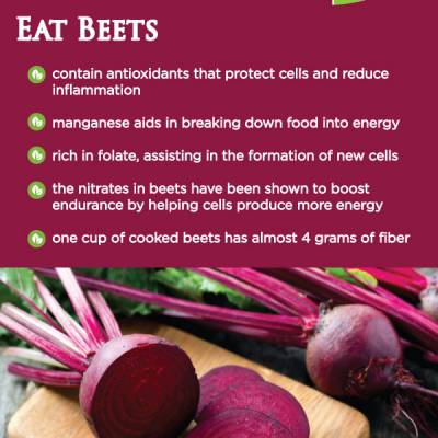 contain antioxidants that protect cells and reduce inflamation manganese aids in breaking down food to energy rich in folate, assisting in the formation of new cells the nitrates in beets have been shown to boost endurance by helping cellsproduce more energy one cup of cooked beets has almost 4 grams of fiber