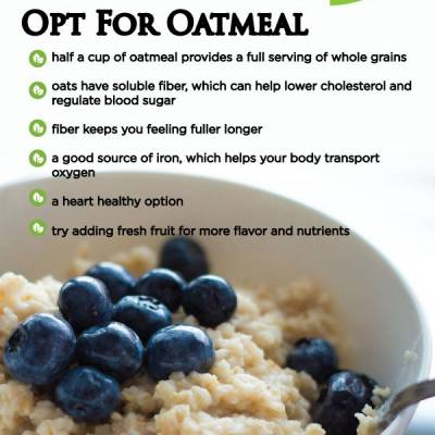opt for oatmeal  half a cup of oatmeal provides a full serving of whole grains oats have soluble fiber, which can help lower cholesterol and regulate blood sugar fiber keeps you feeling fuller longer a good source of iron, which helps your body transport  oxygen a heart healthy option try adding fresh fruit for more flavor and nutrients