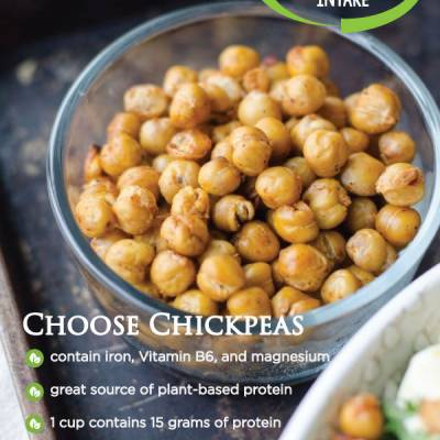 Choose Chickpeas  contain iron, Vitamin B6, and magnesium great source of plant-based protein 1 cup contains 15 grams of protein can help lower LDL cholesterol  filled with fiber
