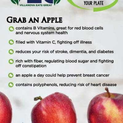 contains B Vitamins, great for red blood cells  and nervous system health filled with Vitamin C, fighting off illness reduces your risk of stroke, dimentia, and diabetes rich with fiber, regulating blood sugar and fightingoff constipation an apple a day could help prevent breast cancer contains polyphenols, reducing risk of heart disease