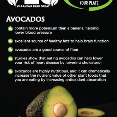 Avocados  contain more potassium than a banana, helpinglower blood pressure excellent source of healthy fats to help brain function avocados are a good source of fiber studies show that eating avocados can help lower your risk of heart disease by lowering cholesterol avocados are highly nutritious, and it can dramaticallyincrease the nutrient value of other plant foods thatyou are eating by increasing antioxidant absorbtion