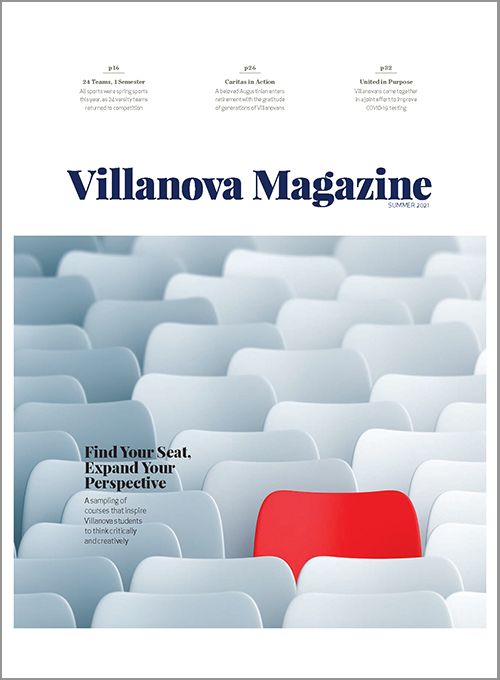 "The cover of the Spring 2021 Villanova Magazine with a graphic of the illustrated cover and cover story ""Seek and Find at Falvey""""."