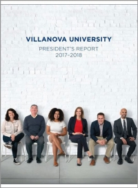 Cover of the 2017-2018 President's Report showing six Villanovans sitting against a white brick wall