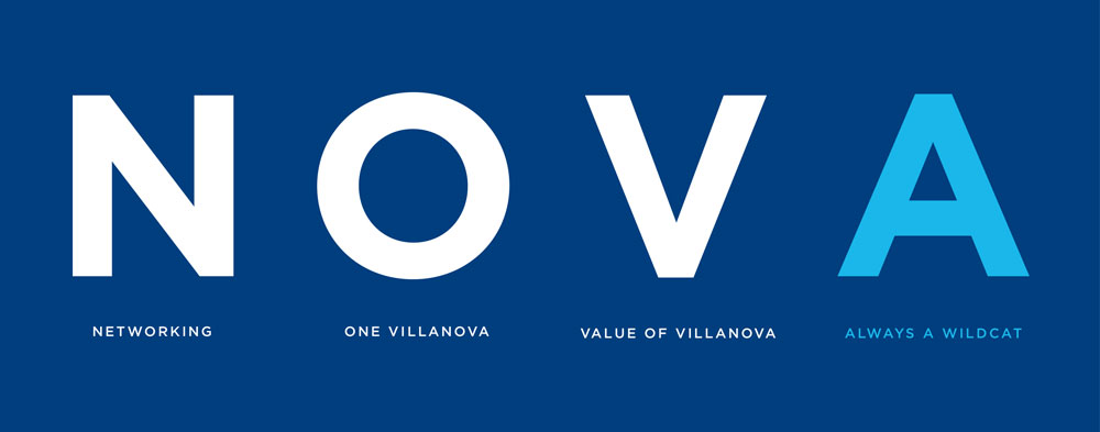 "Graphic image with ""NOVA"" in large type on blue background. N for Networks, O for One Villanova, V for Value of Villanova, A for Always A Wildcat"
