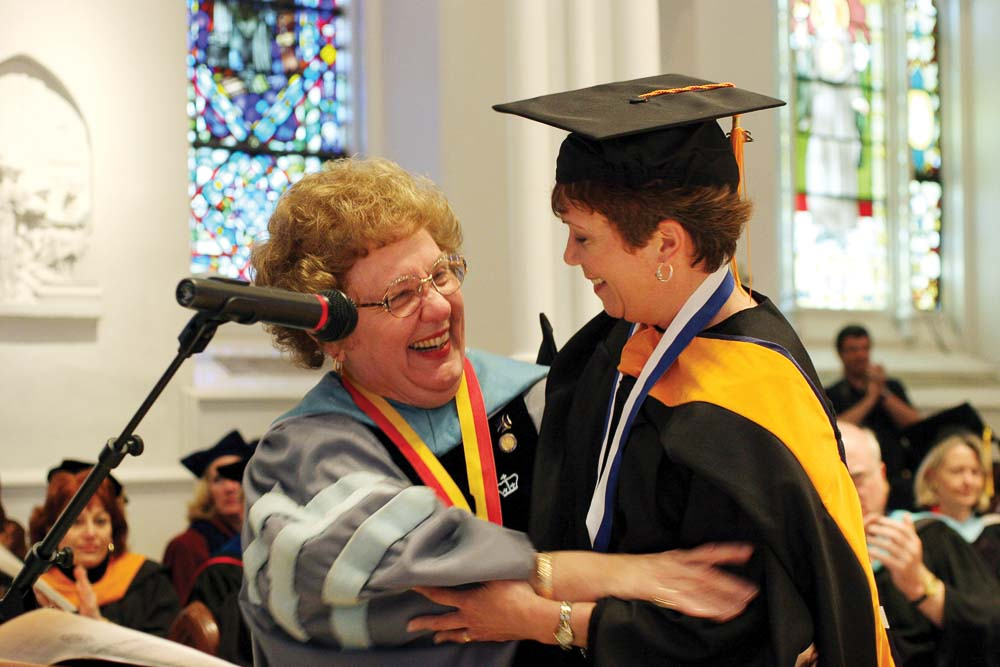 Dean M. Louise Fitzpatrick with Teresa Holman '07 MSN at the College's Convocation.