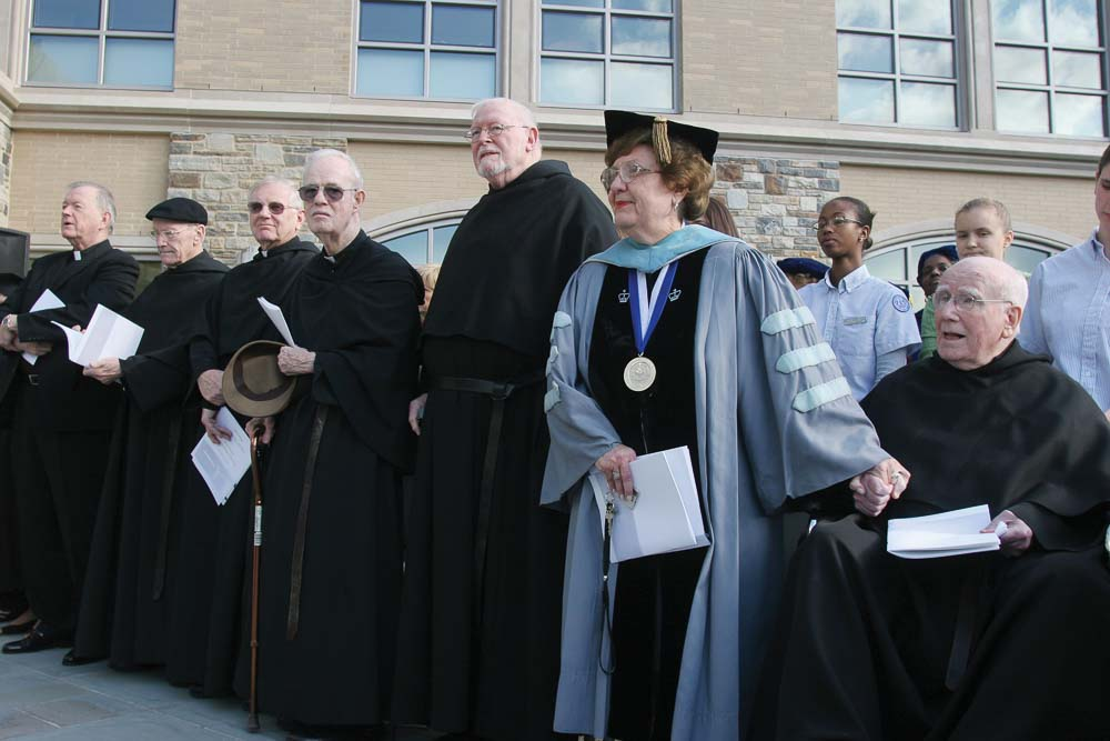 Dean M. Louise Fitzpatrick with the Rev. John M. Driscoll, OSA, PhD, '48 CLAS, the former Villanova president