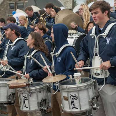 Drummers in the Villanova band lined up