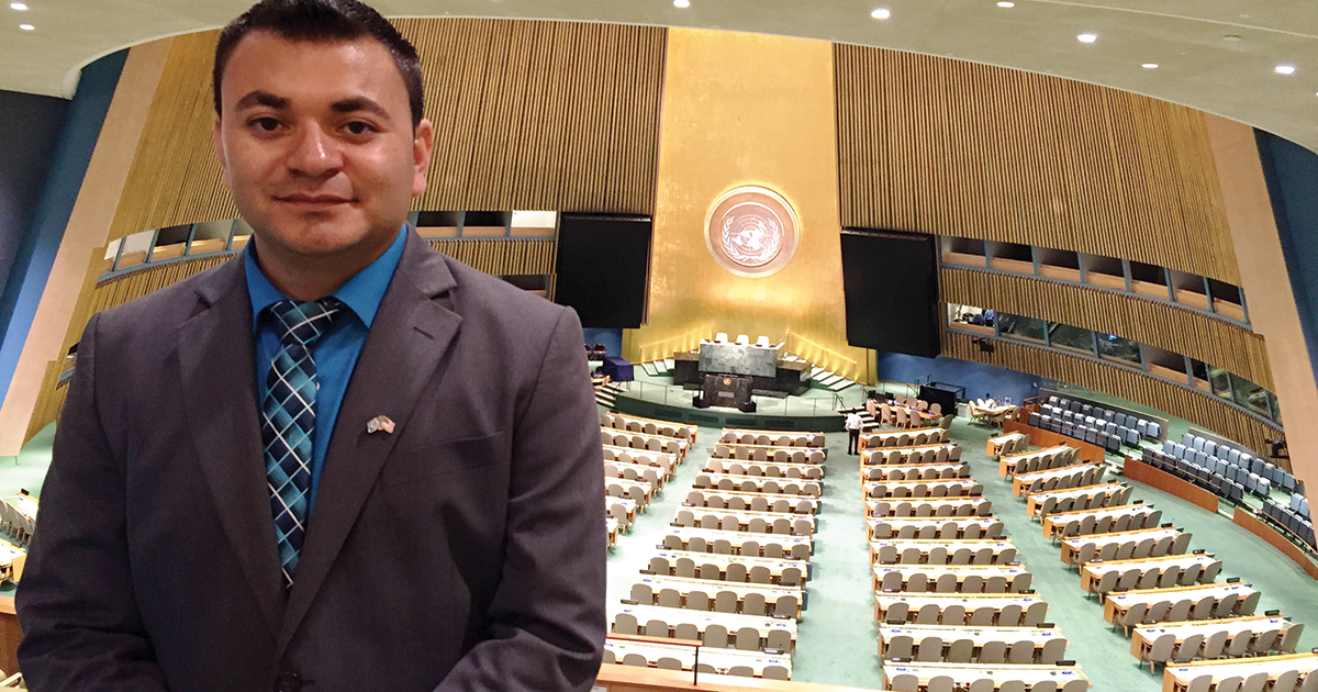 Luis Canales with the United Nations room in the background.