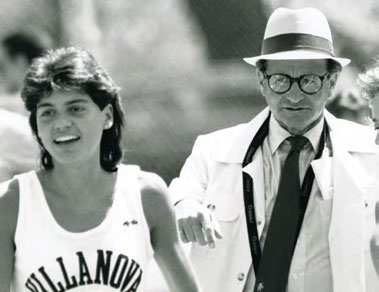 Black and white photo of Marty Stern on right with two-time Olympian Vicki Huber Rudawsky '89 CLAS on left