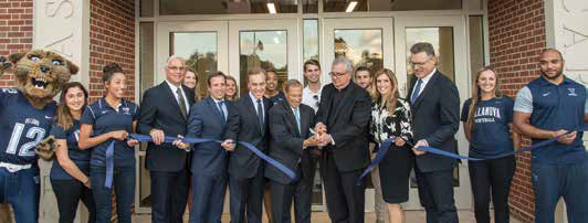 Villanova community cuts the ceremonial ribbon for the new Athletic Center