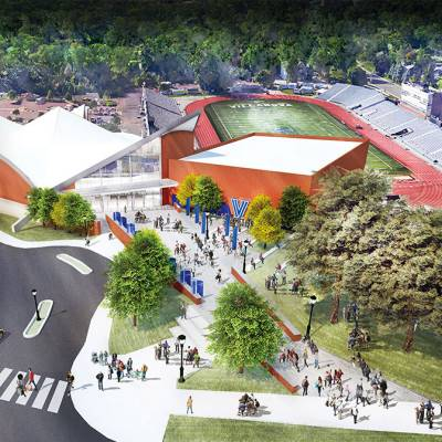 Image rendering of a view of the new Finneran Pavilion from the sky