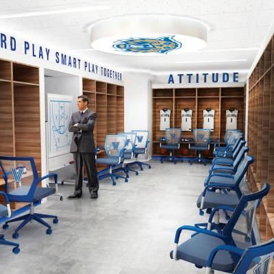Image rendering of Men's Basketball locker room with Jay Wright standing