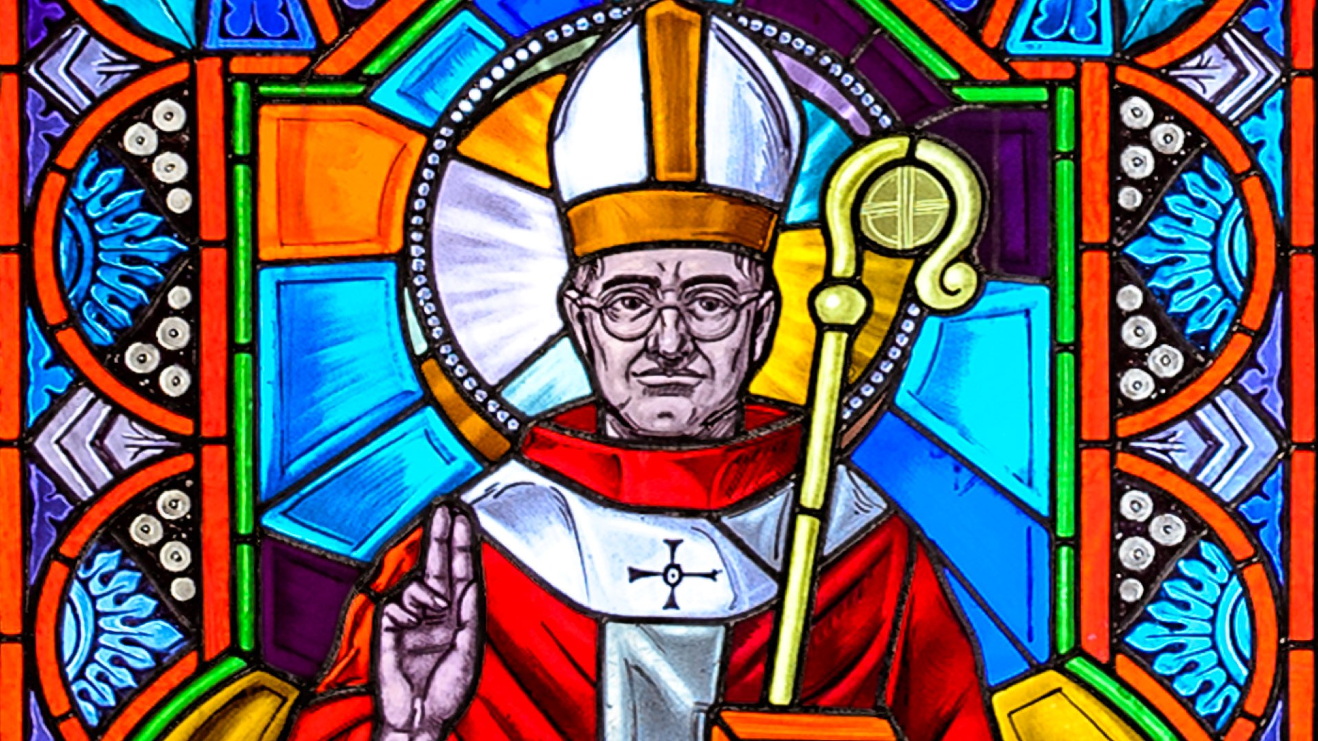Stained glass window depicting Blessed Oscar Romero from Villanova's Corr Chapel.