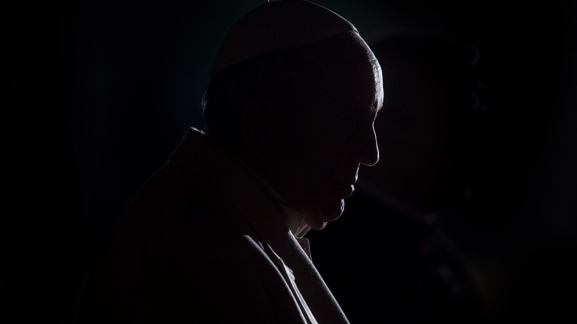 Silhouette of Pope Francis.