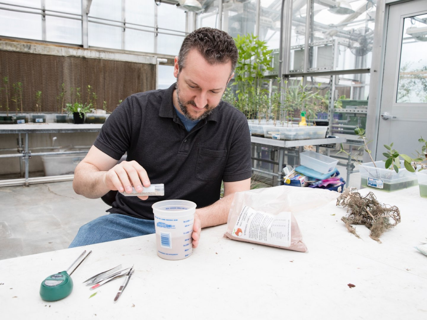 Scott Engle experiments with Martian soil.