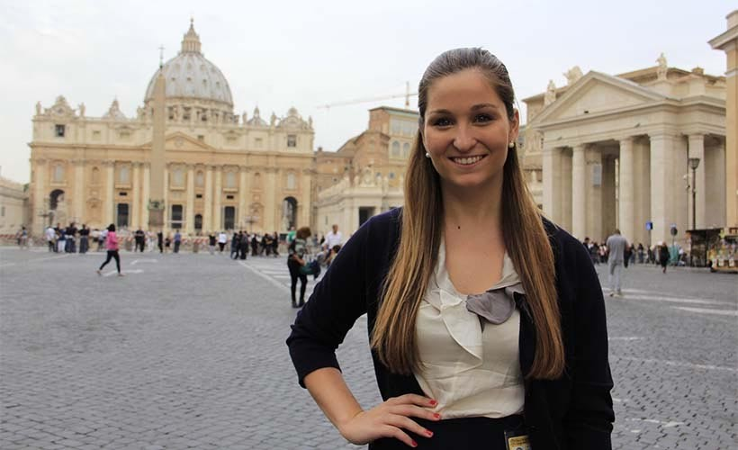 This is a photo of a student outside the Vatican in Rome.