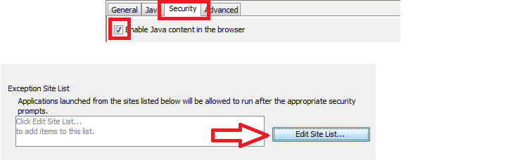 "Java control panel with ""Security"" tab highlighted, and ""Edit Site List"" button highlighted"