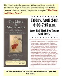 "Poet Eamon Grennan and the Curlew Theatre Company presents Grennan's play ""The Muse & Mister Yeats"""
