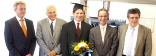 Darmstadt University of Technology Ph. D. Committee with Dr. Christian Debes (middle) and his co-advisors, Dr. Moeness Amin (left) and Dr. Abdelhak Zoubir, Head of the Signal Processing Group at Darmstadt (right).
