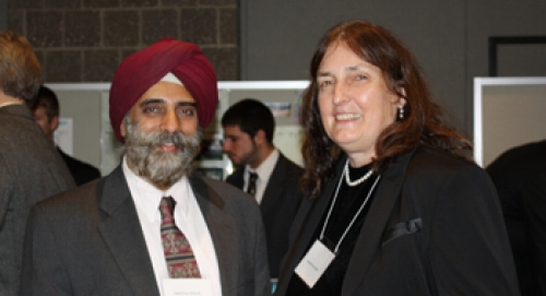 Dr. Pritpal Singh and Marie Maguire EE '69, judge, sponsor, and advisory board member