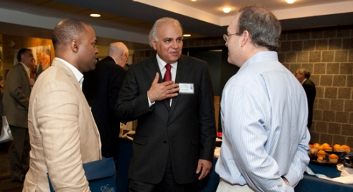 Dr. Moeness Amin, Director of the CAC, (center) speaks with Dr. Frederic Bertley, Vice President, The Franklin Center, The Franklin Institute (left) and Dr. Larry Carin of Duke University (right)