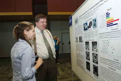 Student and Faculty at Poster Day