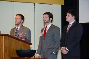 Sound Surround team members William Kapcio '14 EE, John Hannah VSB '14 and Kyle Hartner '14 EE present to an audience of VSEC judges.