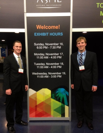 Kagan Richardson '15 ME and Joseph Schaadt '15 ME at the International Mechanical Engineering Congress and Exposition