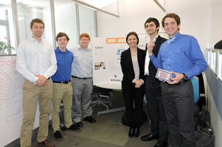 "Members of ""Team C++,"" which took first prize: Thomas McEleney '17 ChE, Robert Schmicker, University of New Haven sophomore; Patrick Lentz '17 ChE; Marisha Gogolowski, Philadelphia University graduate student; Peter Paralikas '18 ECE; and Matthew Sheehy, University of New Haven freshman.  Also on the team but not pictured is Matthew Pak '17 ChE."