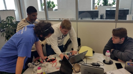 Student teams compete in the first annual Intel Edison hackathon.