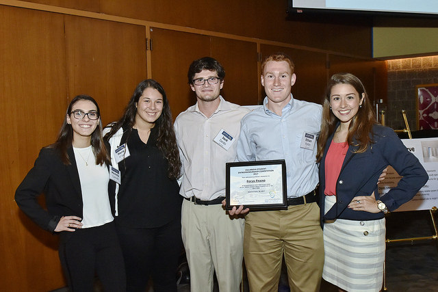 "Madeline Lopez '17 EE (far right) and Ethan Fortin '17 CpE (2nd from right) were members of team ""Focus Friend,"" which took home the Klingler Unitas Prize and ""VUers"" Choice Award."