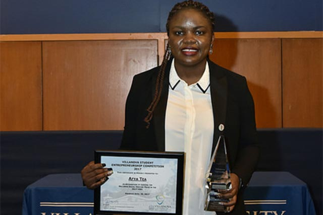 Vanessa Kungne '17 MSChE, founder of Afya Tea, won the 2017 Meyer ICE Award for the College of Engineering.