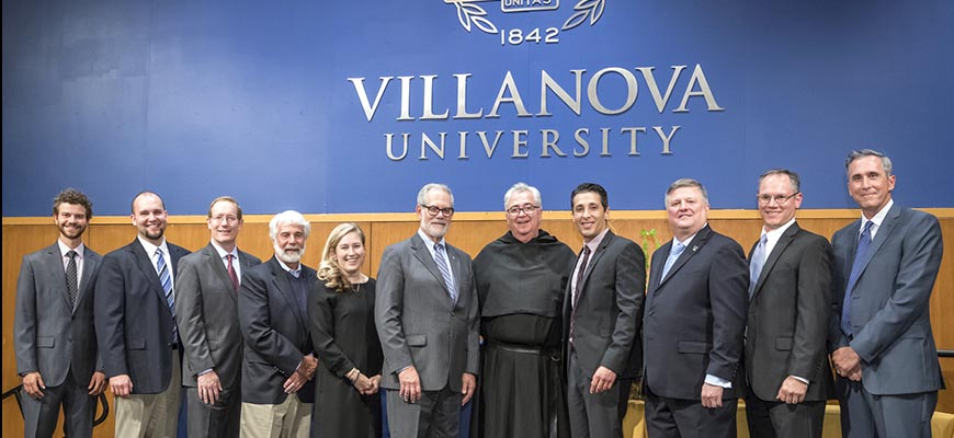EAS Awardees: Adam Butler '15 ME; John Beyer '11 EE; Kevin Fogash, PhD, '92 ChE; W. Todd Pohlig '72 CE; Kerry Cooley Bruggemann '06 ME; Drosdick Endowed Dean of Engineering Gary A. Gabriele, PhD; University President The Rev. Peter M. Donohue, OSA, PhD, '75 CLAS; Francis Homer '03 CE, John Durrant '76 CE, '80 MSCE; Mark Muller '90 ME, '98 MSME; Charles DeAngelis '85 CE, PE. Not pictured: Thomas Saldutti '17 CE; Joseph Krackeler, PhD, '59 ChE; Christopher Damico '84 EE