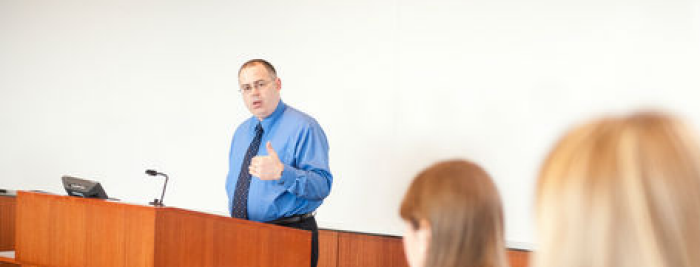 Professor Michael Risch Teaching From Podium