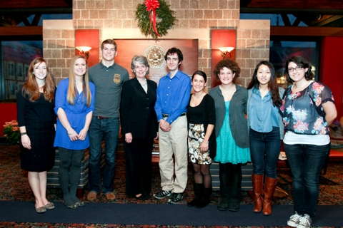 ACS Writing Award Students with Dean