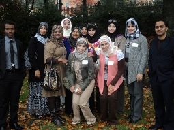 College of Nursing students from the Sultanate of Oman spoke with Cultural Attaché Dr. Asya Al-Lamki (5th from left) during National Day festivities in Washington, D.C.