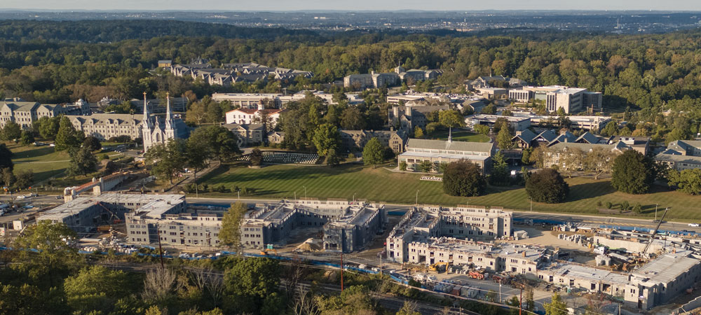 Aerial shot of Villanova's campus showing construction projects